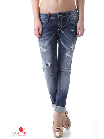 Джинсы Sexy Woman, цвет синийДжинсы<br>MADE IN ITALY:denim, solid colour, dark wash, fadded effect, worn effect, mid rise, front closure, button, zip, multipockets.<br><br>Цвет: синий