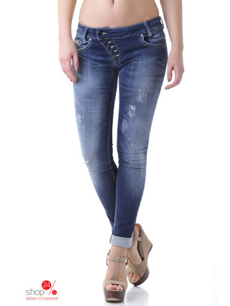 Джинсы Sexy Woman, цвет синийДжинсы<br>MADE IN ITALY:denim, solid colour, dark wash, fadded effect, worn effect, mid rise, front closure, button, multipockets.<br><br>Цвет: синий