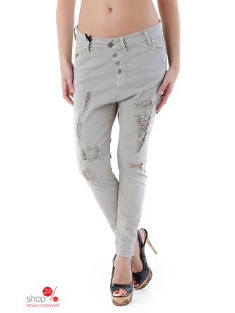 Брюки Sexy Woman, цвет оливковыйБрюки<br>MADE IN ITALY:solid colour, ripped effect, buttons, multipockets.<br><br>Цвет: оливковый