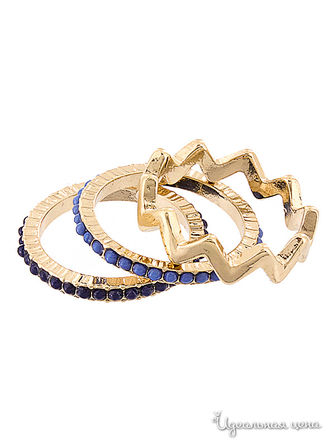 Кольцо, 3 шт AtStyle247, цвет gold ,blue,navy