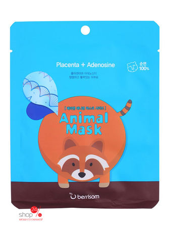 Маска тканевая с экстрактом плаценты Animal mask series - raccoon, 25 мл BERRISOM тканевая маска bioaqua animal tiger supple mask объем 30 г