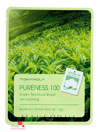 Маска для лица с зеленым чаем Pureness 100 Green Tea Mask Sheet2, 21 мл TONY MOLY тканевая маска tony moly pureness 100 shea butter mask sheet объем 21 мл